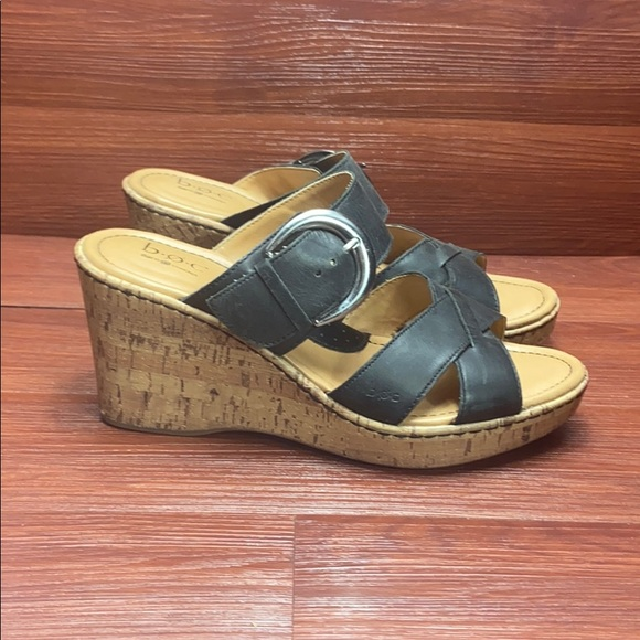 B.O.C wedge leather sandals leather 10